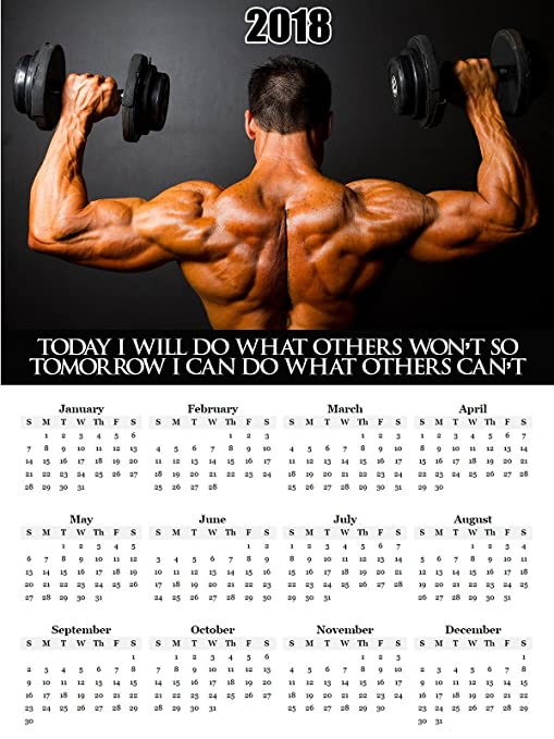 Amazon.com: 2018 Calendario Cartel Workout Motivación Póster ...