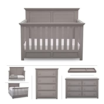 Nursery Furniture Convertible Crib Dresser Chest Changing Top And Toddler Full