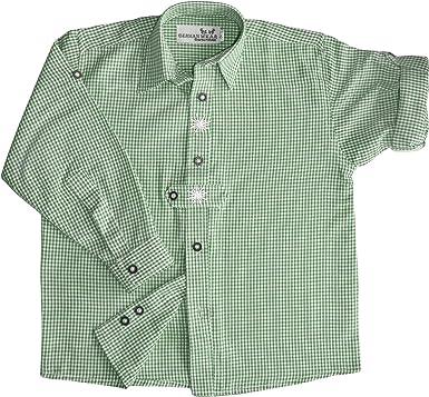 German Wear Niños Traje Camisa Knaben Tracht Pantalones de Piel con Edelweiss Verde de Cuadros