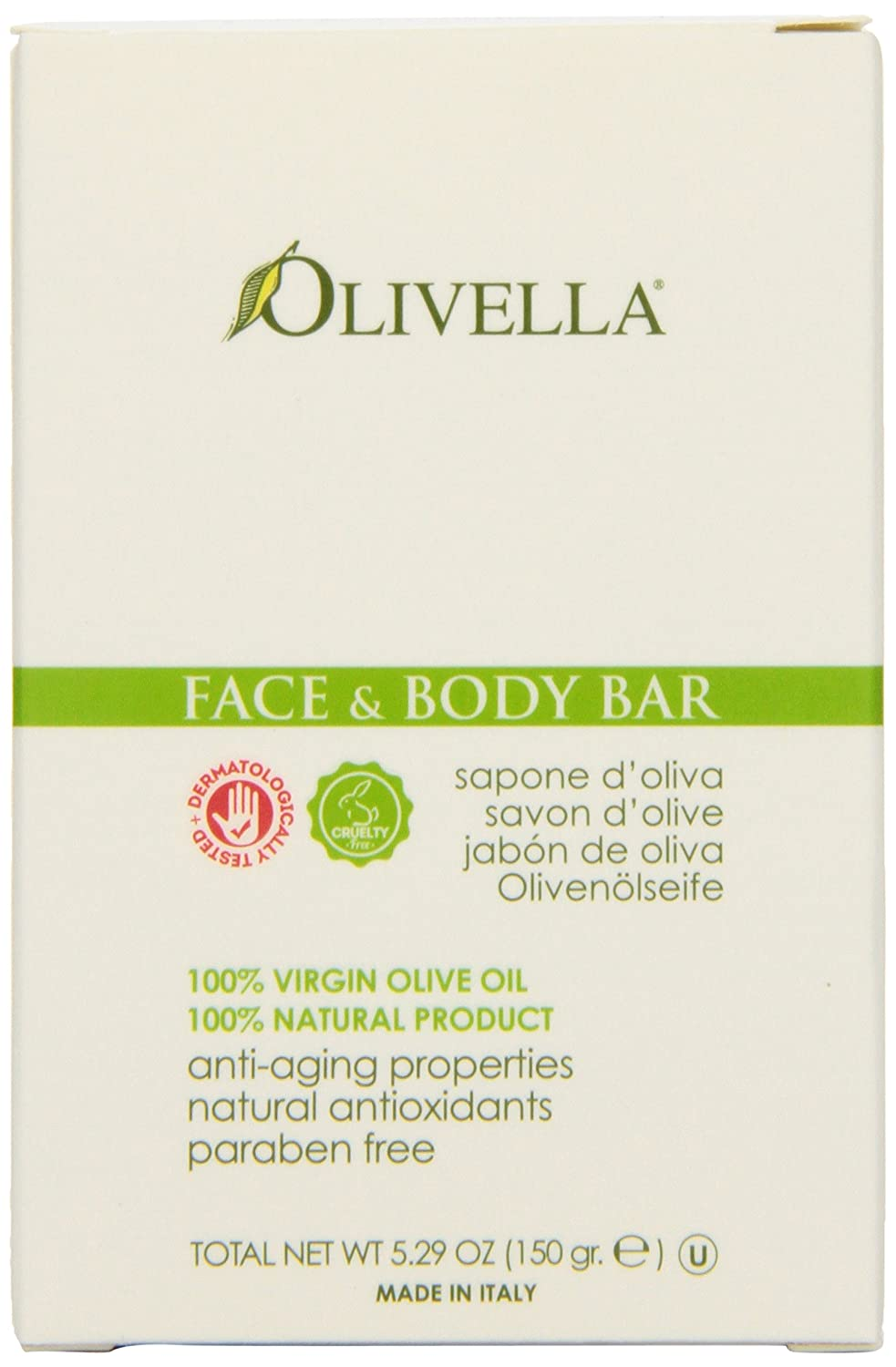 Olivella Face and Body Soap, Scented All-Natural 100% Virgin Olive Oil from Italy, 5.29-Ounce Bars (Pack of 12)