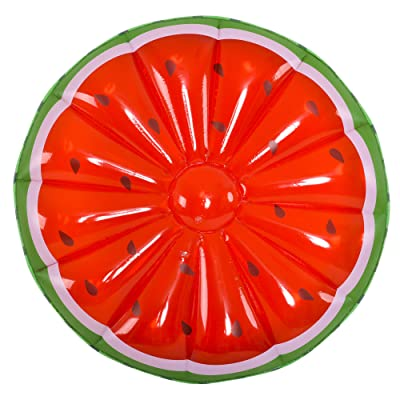 Green and Red Jumbo Watermelon Slice Inflatable Swimming Pool Float, 58-Inch: Sports & Outdoors