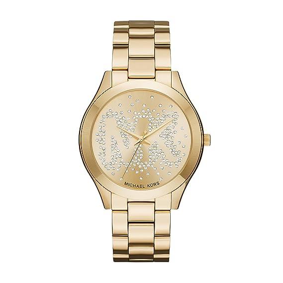 Michael Kors Slim Runway - Reloj análogico de cuarzo con correa de acero inoxidable para mujer, color oro: Amazon.es: Relojes