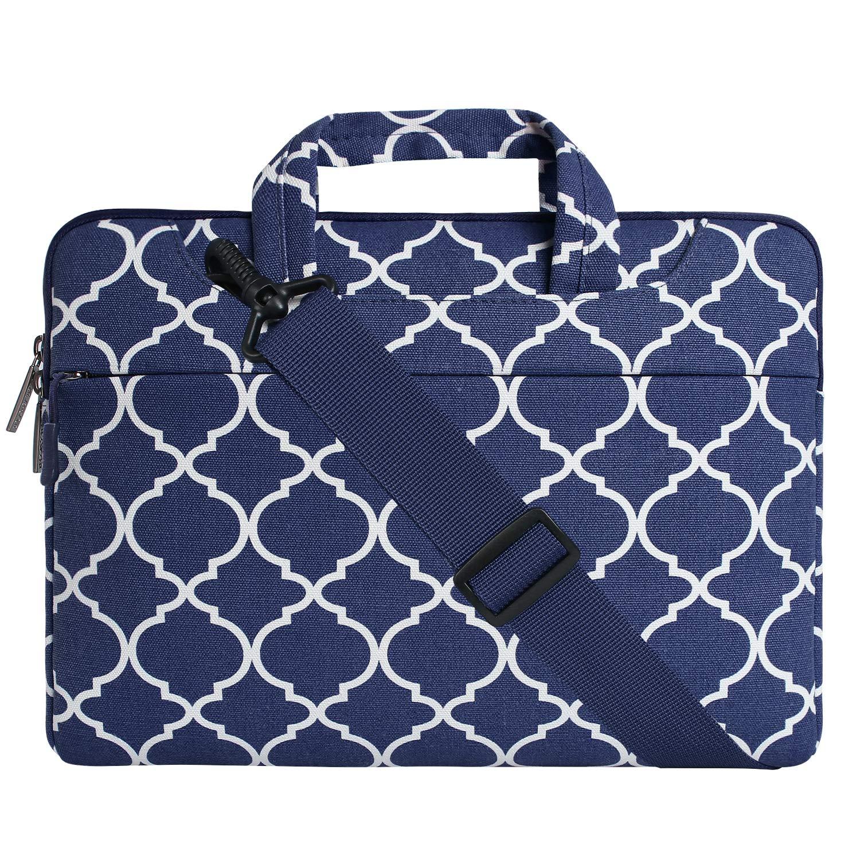MOSISO Laptop Shoulder Bag Compatible 15-15.6 Inch MacBook Pro, Ultrabook Netbook Tablet, Quatrefoil Canvas Protective Briefcase Carrying Handbag Sleeve Case Cover, Navy Blue