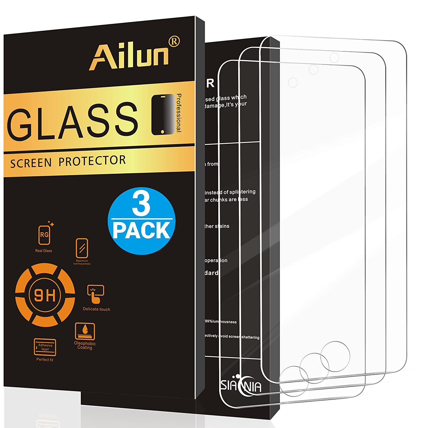 Ailun Screen Protector Compatible iPod Touch 6 iPod Touch 5 [3 Pack],2.5d Curved Edge, Tempered Glass for iPod Touch 6th 5th Generation,Scratch-Proof,Case Friendly,Siania Retail Package