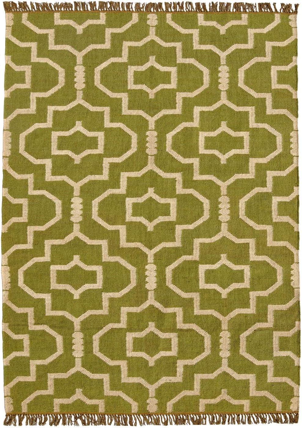 Acura Homes Hand-Woven Green Jute Wool Flat Weave Rug – 5 x 8