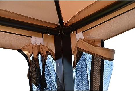 Outsunny al Aire Libre 3 Persona sofá toldo Patio Gazebo Swing, marrón con Paredes de Malla: Amazon.es: Jardín