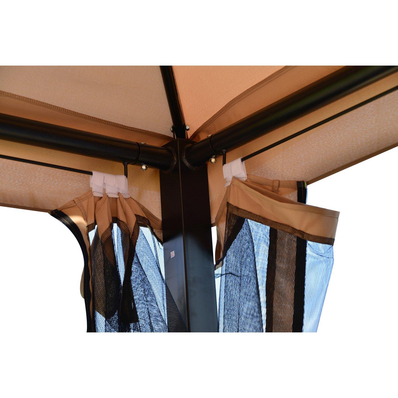 Amazon.com : Outsunny Outdoor 3 Person Patio Daybed Canopy Gazebo Swing,  Tan With Mesh Walls : Garden U0026 Outdoor