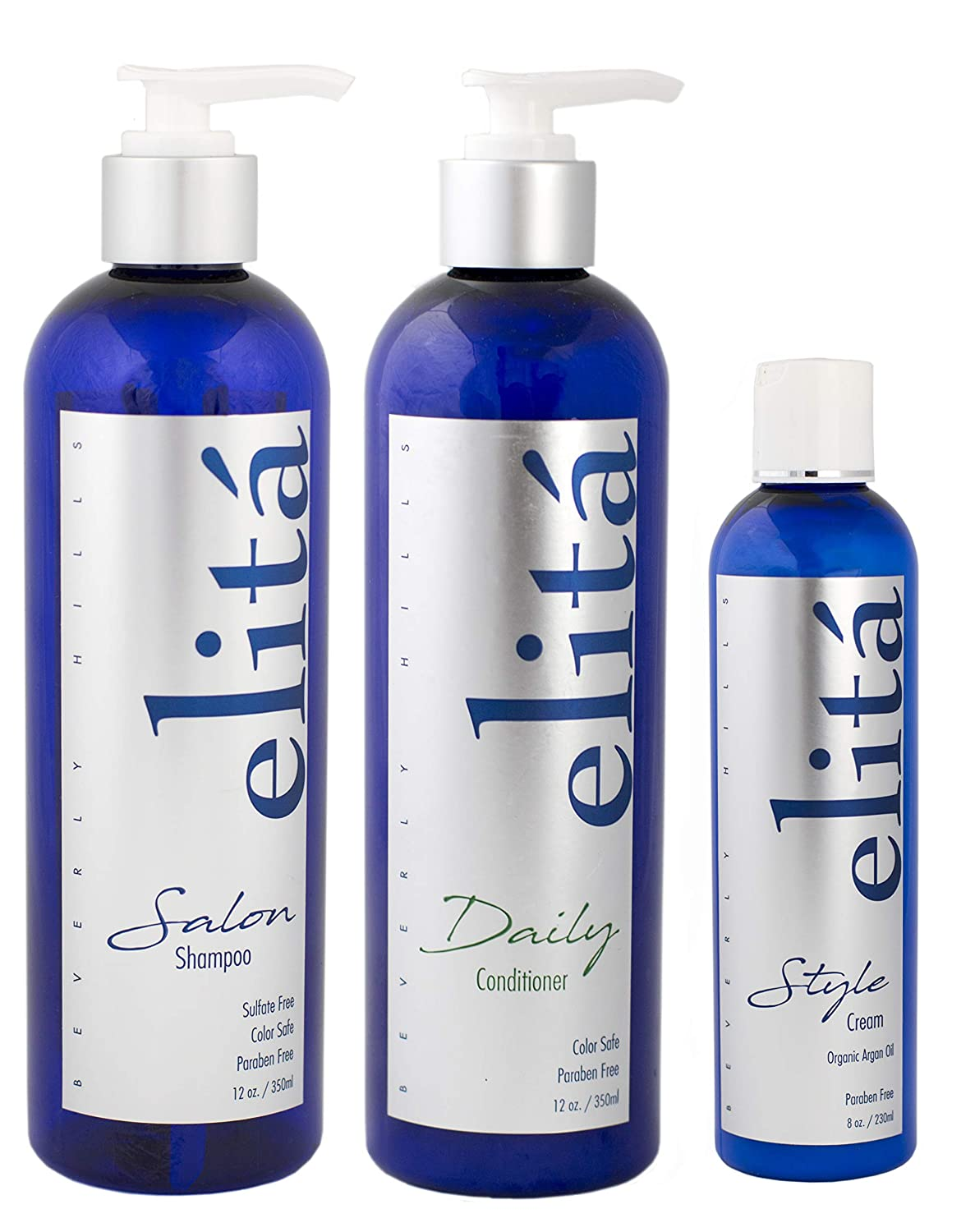 (Official) elita Beverly Hills Hair Maintenance Set: 12oz Salon Shampoo & 12oz Daily Conditioner & 8oz Style Cream: | All Natural | Paraben & Sulfate Free | Made in USA by elita Beverly Hills 81w2B9RbRegL