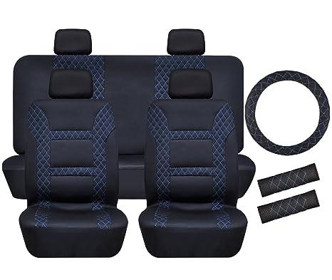 Full Set Car Seat Covers Universal Front Rear Cover 11 Pcs Belt Pad