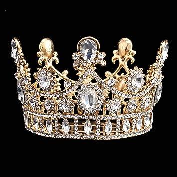 FUMUD Wedding hair accessories Bridal Tiara Gold Hair Crown Vintage Head Accessories  jewelry headband wedding crown b671f3798484