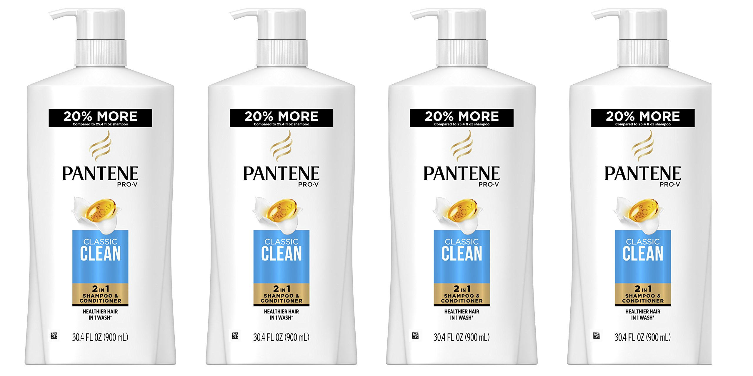 Pantene Pro-V Classic Clean 2-in-1 Shampoo and Conditioner, 30.4 Fluid Ounce (Pack of 4) (Packaging May Vary) by Pantene