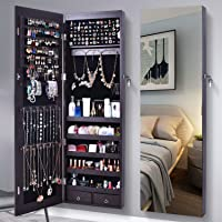 AOOU Jewelry Organizer Jewelry Cabinet, Full Screen Display View Larger Mirror, Lockable Wall Door Mounted, Full Length Mirror