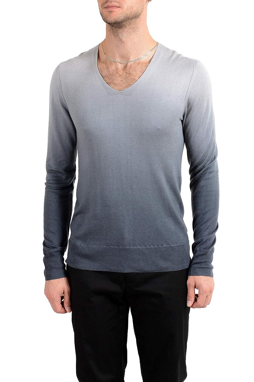 John Varvatos Artisan Men's Silk Cashmere Deep V-Neck Two Tones Sweater Sz US S IT 48