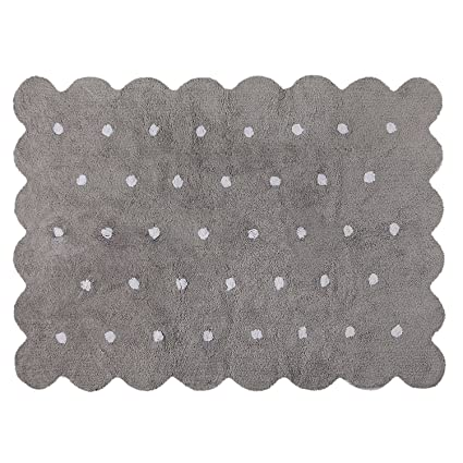 Lorena Canals Alfombra Infantil Lavable, Modelo Galleta, 120 x 160 cm, Color Gris