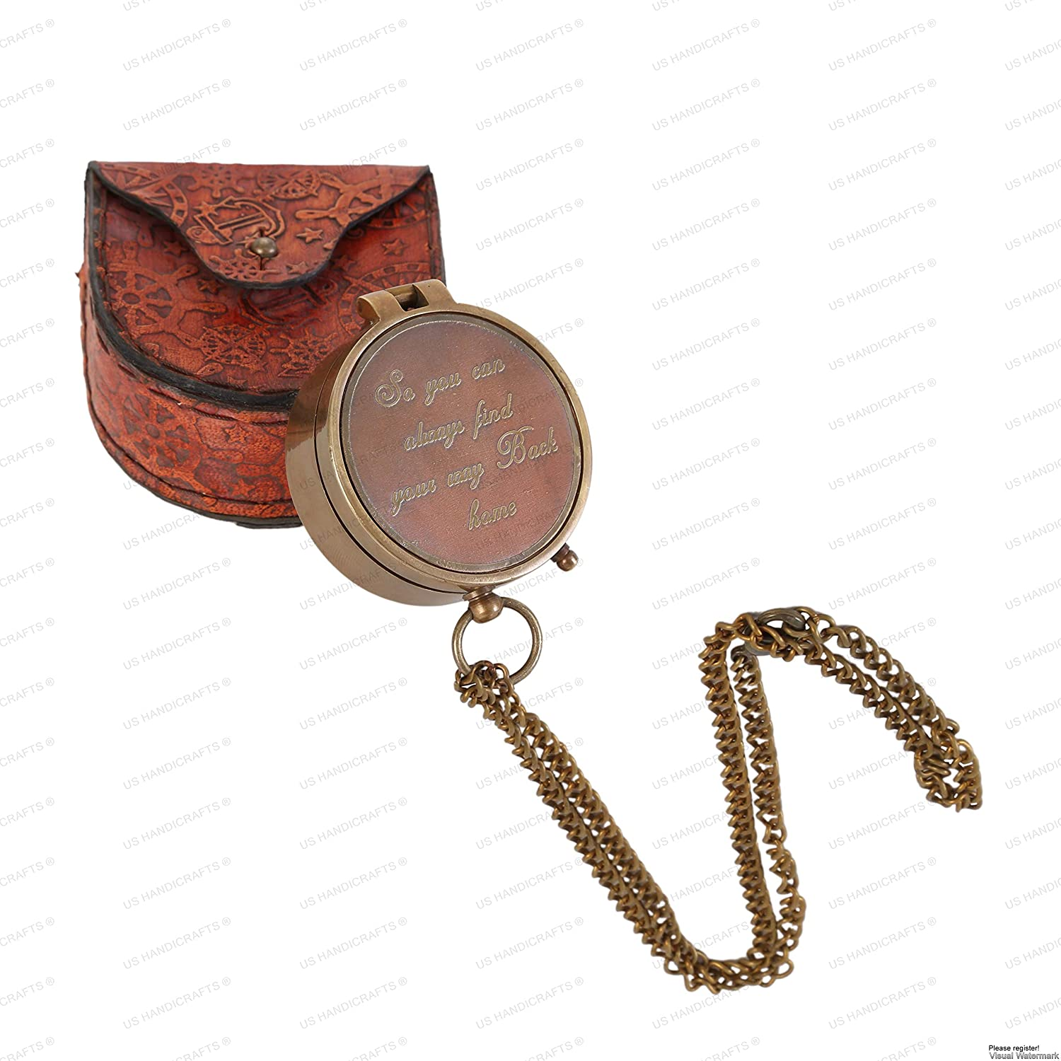 """US HANDICRAFTS """"So You Can Always Find Your Way Back Home"""", Camping Compass Engraved with Handmade Gift for Christmas."""