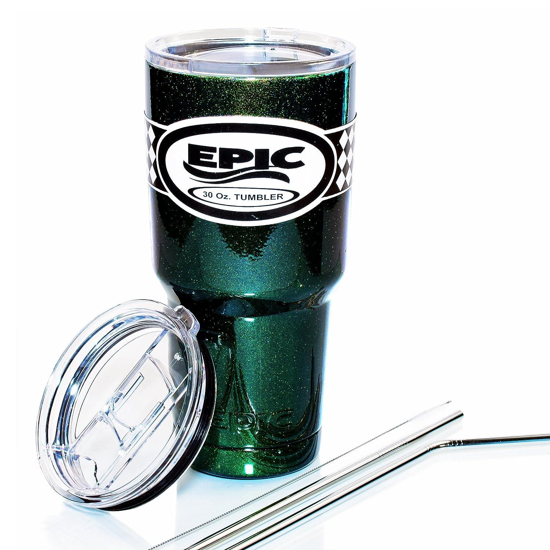 EPIC タンブラー ステンレススチール 真空断熱カップ コーヒーマグ 蓋2個とステンレススチール製ストロー2本が付属 30 oz グリーン EP-sg30 B01MG2L89E 30 oz|Green-Sparkle 30 Green-Sparkle 30 30 oz