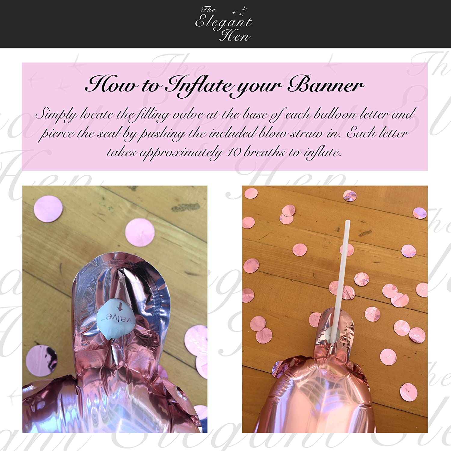 Hen Do Accessories Bunting No Helium Required The Elegant Hen Team Bride Rose Gold Hen Party Balloon Decorations Inflating Straw and Hanging String Included /…