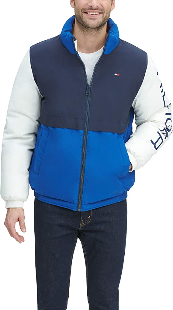 Tommy Hilfiger mens Retro Colorblocked Stand Collar Performance Puffer Jacket