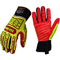 Seibertron HIGH-VIS HRIG Anti Impact Work Gloves Hi-Vis Oil and Gas Water Resistant Safety Heavy Duty Utility Mechanic Rigger Glove with TPR Protection Yellow Red CE EN388 4132 Large