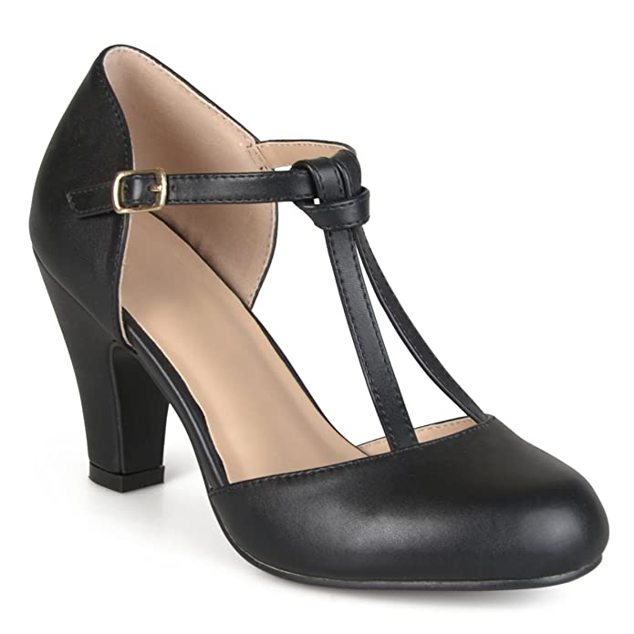 Vintage Inspired Halloween Costumes Brinley Co. Womens Knot Round Toe T-strap Matte Mary Jane Pumps $31.99 AT vintagedancer.com