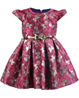 Lilax Little Girls' Shimmer Butterfly Occasion Dress with belt