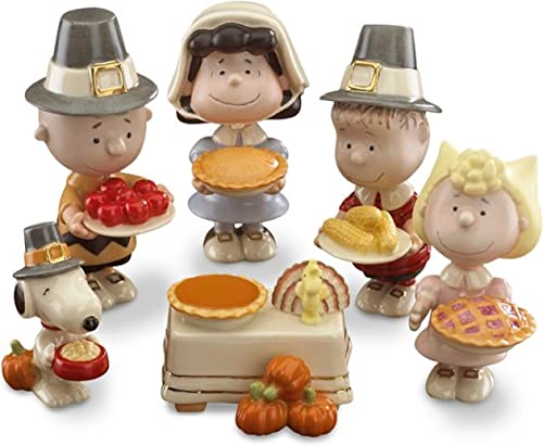 Lenox Thanksgiving Dinner Peanuts Figurines 6 Piece Charlie Brown Snoopy Lucy