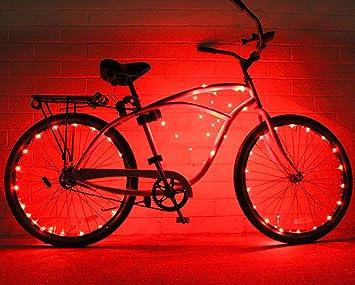 Cadena de luces de GlowRiders, para ruedas de bicicleta, con LED ultrabrillantes, pack de 2, rojo: Amazon.es: Deportes y aire libre