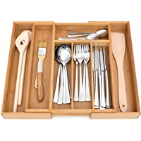 GRÄWE Schubladeneinsatz aus Bambus, Besteckkasten für Küchen-Schubladen, Holzoptik, 5-7 Fächer, variabel ausziehbar