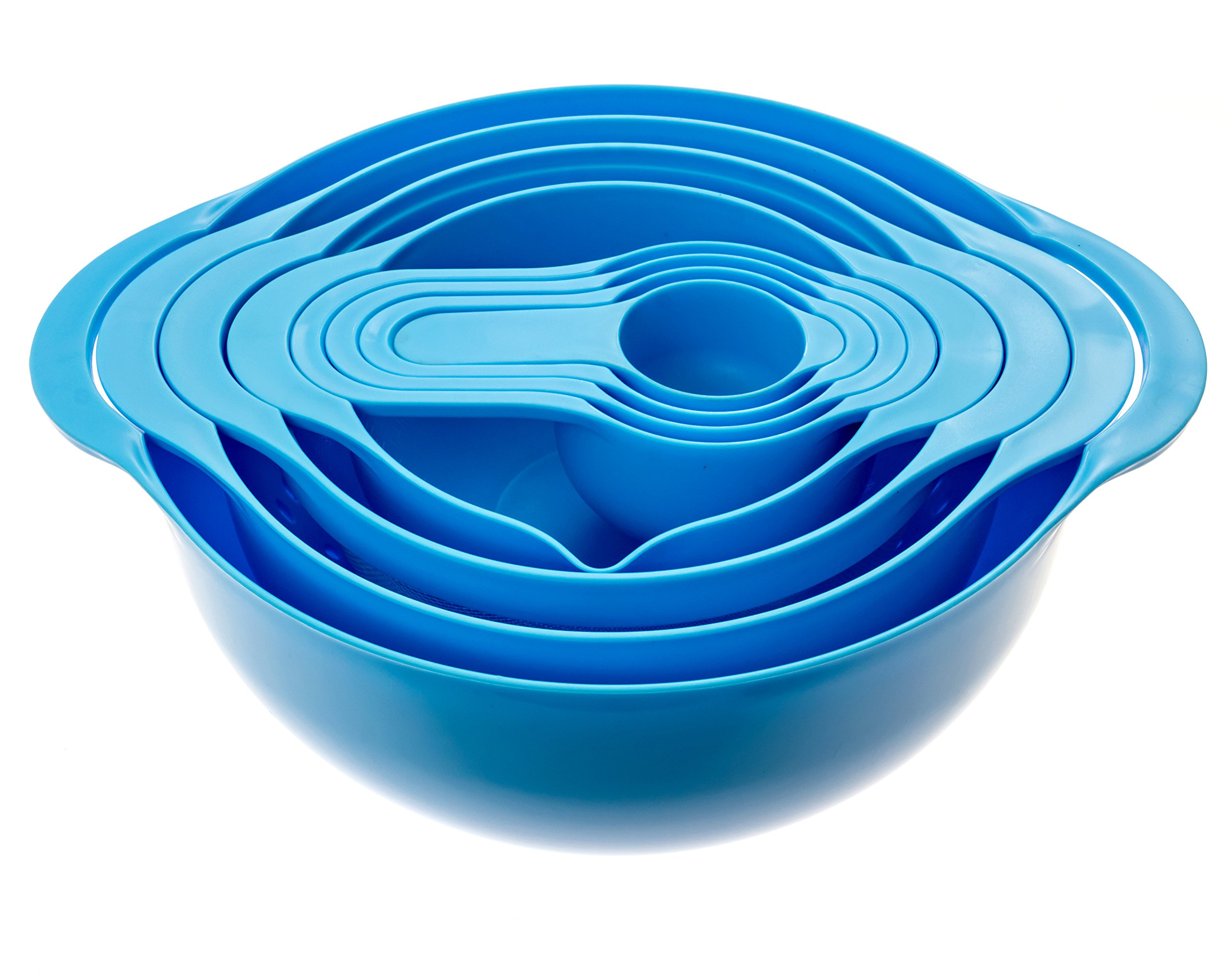Set of 8 Compact Nesting Mixing Bowl Set Measuring Tools Sieve Colander Food Prep Plastic Dishwasher Safe Non-Slip, 8-Piece, By Intriom (Blue) by Intriom (Image #2)