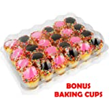 5 - 24 Compartment Clear High Dome Cupcake Containers Boxes with baking cup liners - Great for high topping - 5 boxes 24 slot each - Plus White standard size baking cups