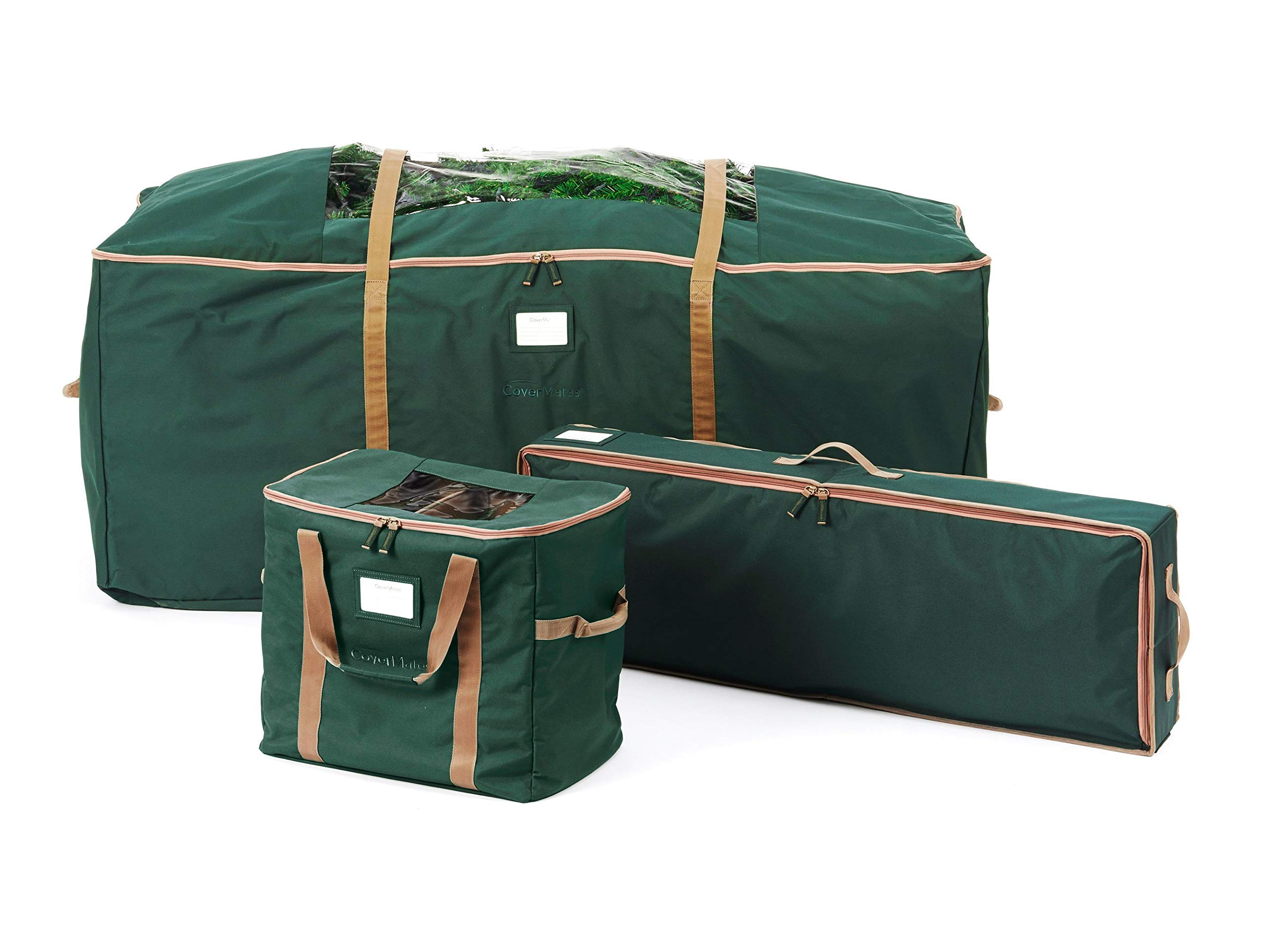 CoverMates – 3PC Holiday Storage Set (48'' Tree Storage Bag + Deluxe Gift Wrap + 60PC Ornament Storage Bag) – 3 Year Warranty- Green