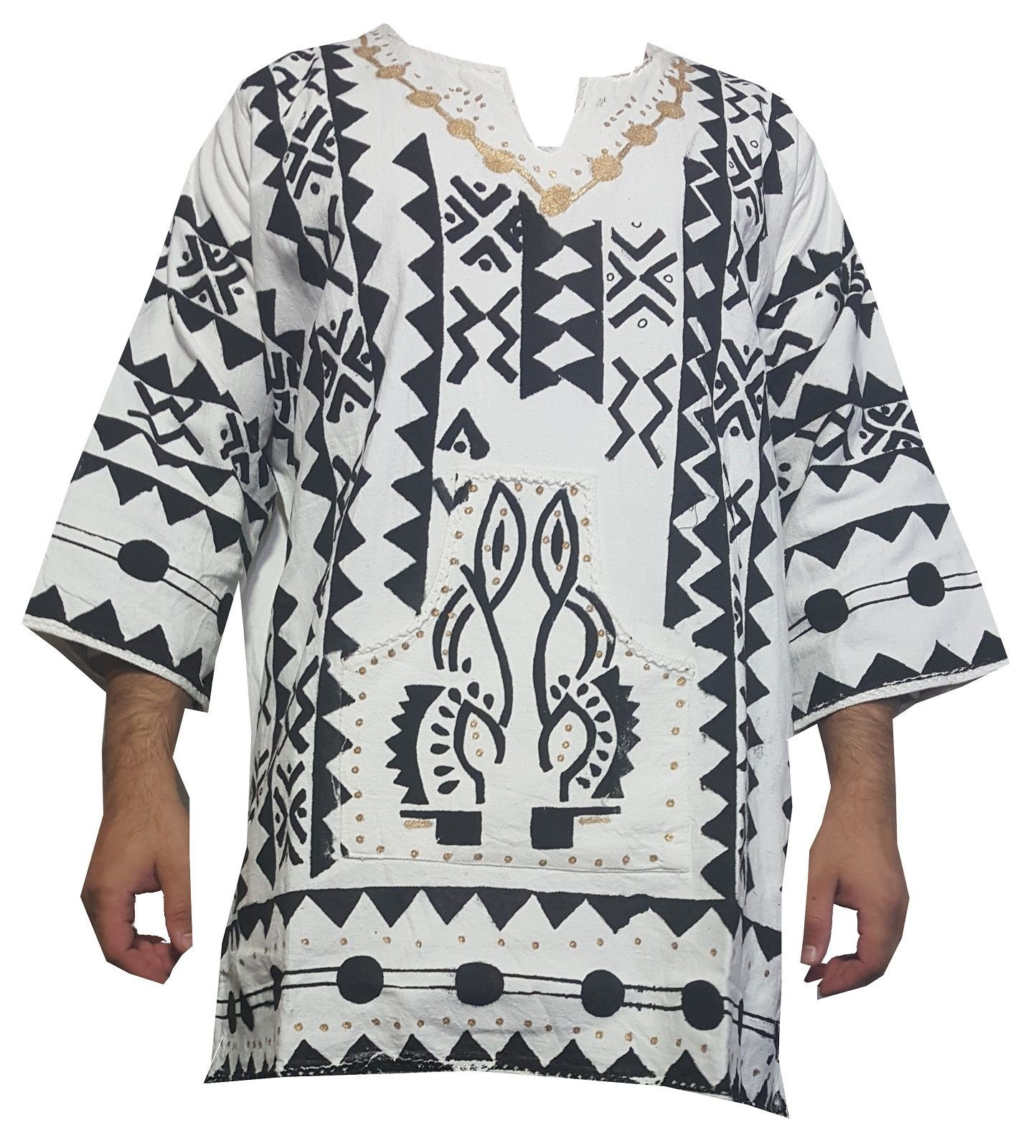 Decoraapparel Mens African Dashiki Shirt Mudcloth Organic Cotton Vintage Hippie Top Blouse One Size