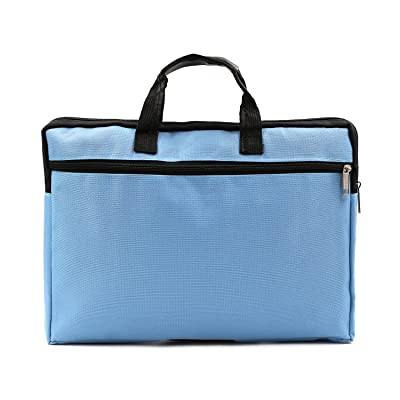 A4 Canvas File Document Bag Organizer Case Handle Messenger Briefcase Bags Zipper For Women Men Blue