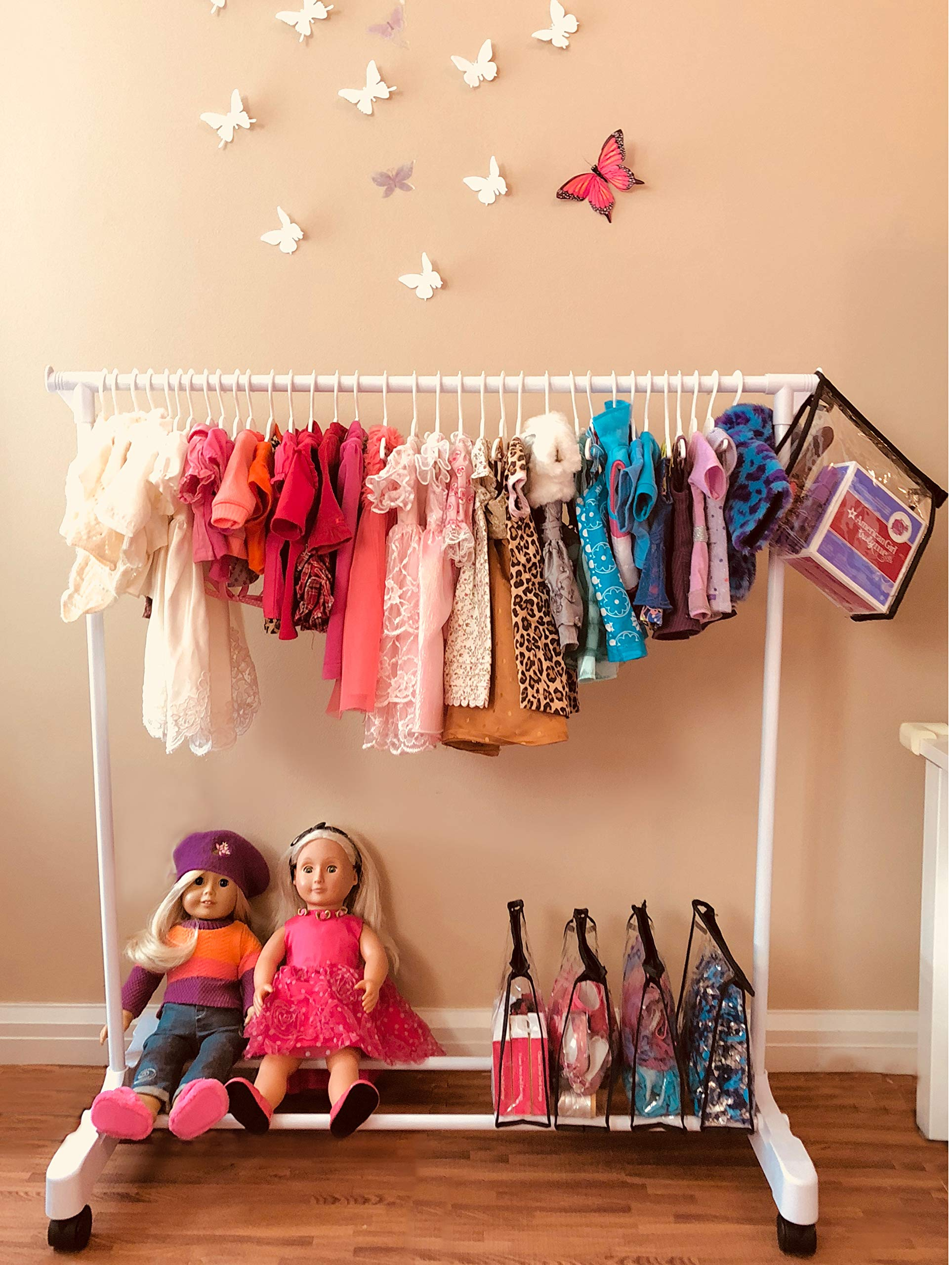 Boottique Child Garment Rack- Kids Closet Organizer- with Accessory Keepers (American Girl Doll Storage System)