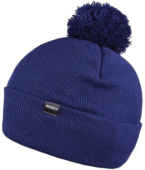 b4d5938b1b3162 WDSKY Men's Winter Knit Pom Pom Beanie Hat Cuffed Dark Blue at ...