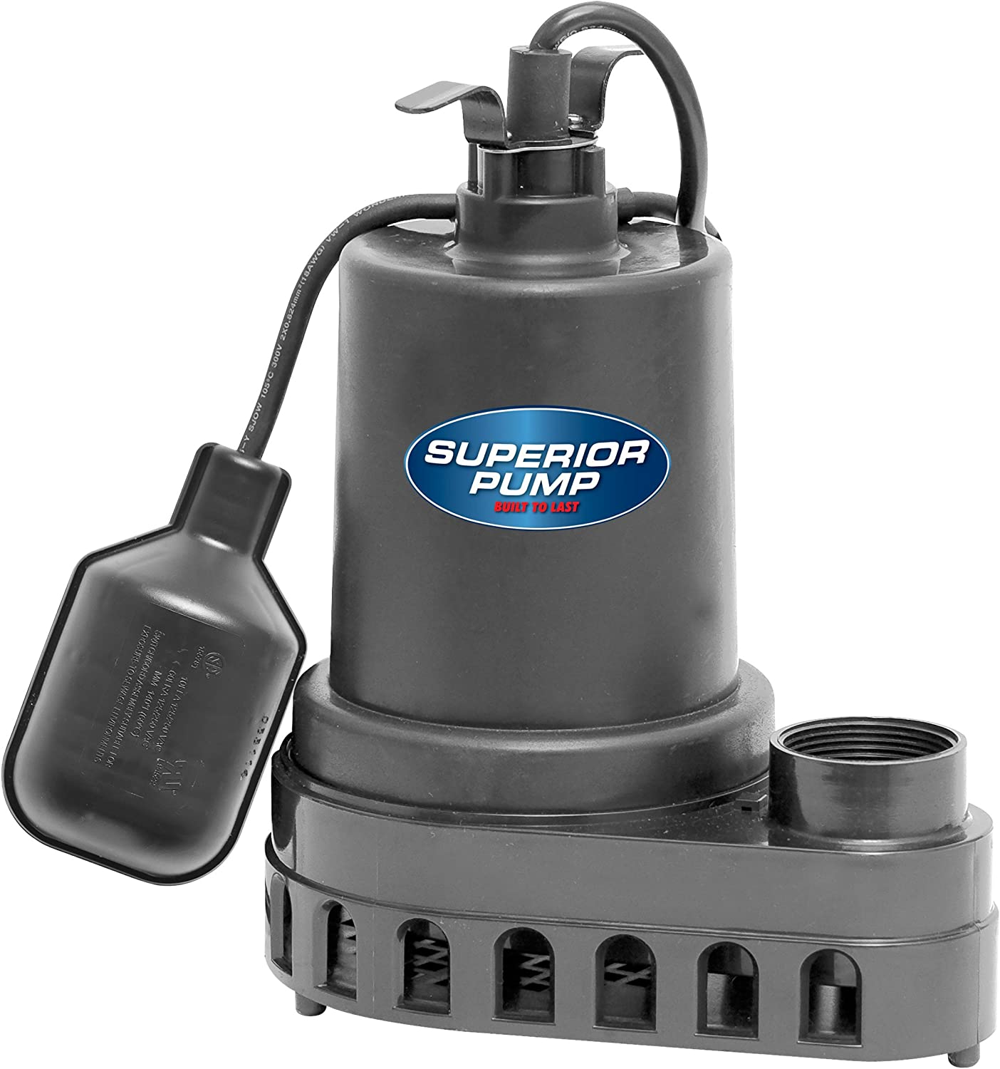 Superior Pump 92370 1/3 HP Thermoplastic Submersible Sump Pump with Tethered Float Switch
