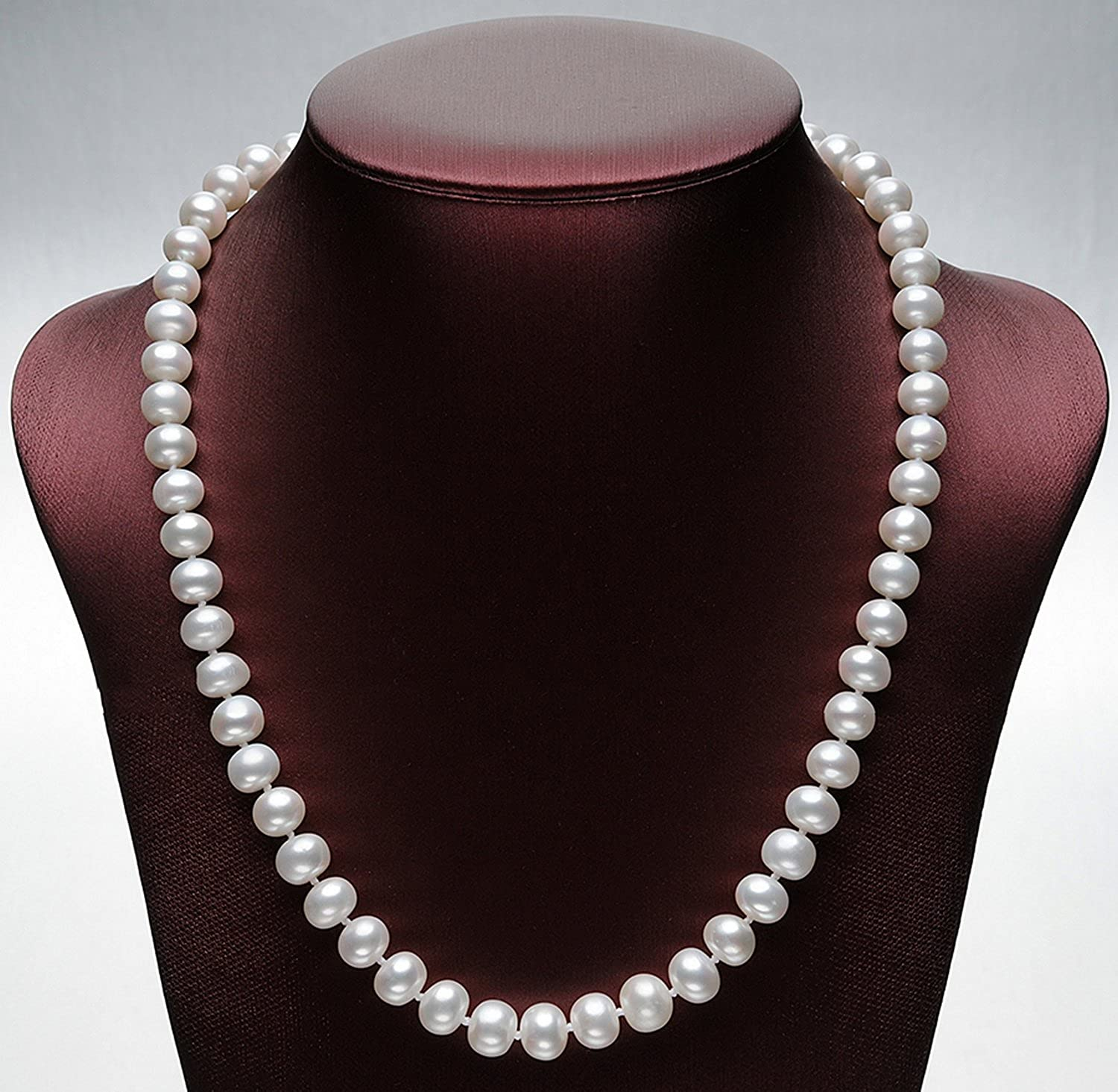 CS-DB Jewelry Silver Genuine Pearl Classic White Pearls Chain Charm Pendants Necklaces