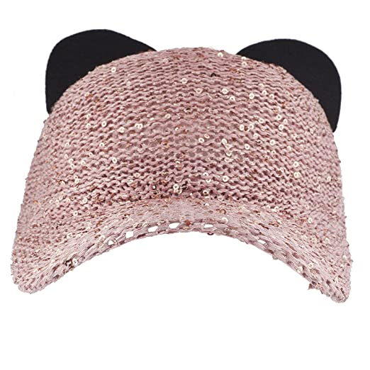 Amazon.com  Lux Accessories Pink Sequin Cat Ear Baseball Cap Dat Hat Trendy  Hat for Girls  Clothing a4d58516be0e