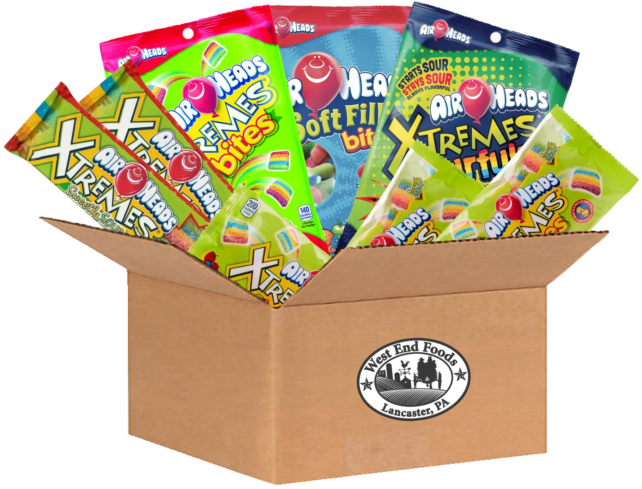 Airheads and Xtremes Kids Sour Candy Variety Bundle - Airheads Xtremes Sourfuls Rainbow Berry, Airheads Soft Filled Bites, Airheads Xtreme Sweetly Sour Belts,and Airheads Xtreme Bites Peg Bag by West End Foods