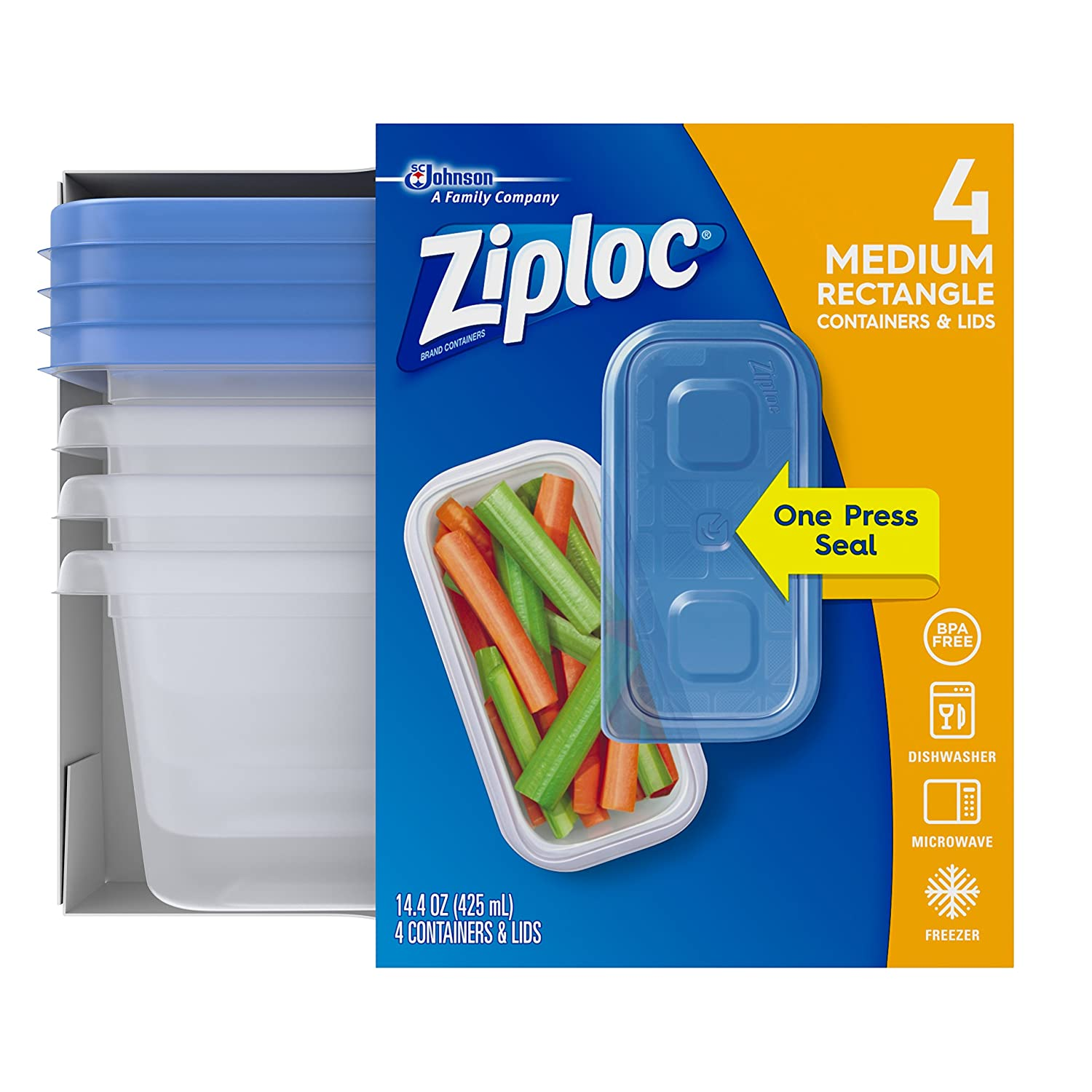 Ziploc Food Storage Containers, Perfect for on-the-go snacking, BPA Free, Medium Rectangular, 4 Count