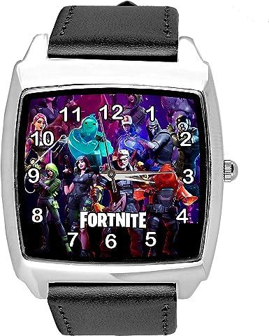 TAPORT® Reloj cuadrado de cuero negro para los fans de Fornite ...