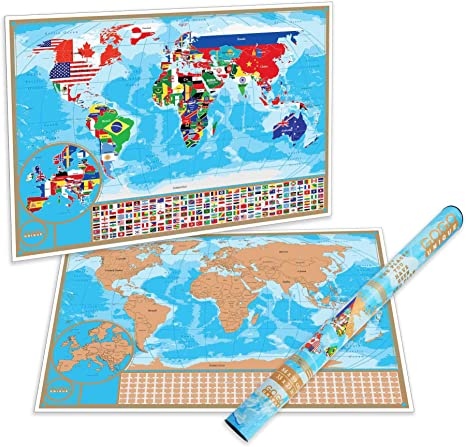 Scratch Off Map of the World with Flags - Detailed US States and Europe Map  | World Scratch Off Poster is a Perfect Present for Travelers | Premium ...