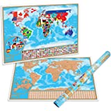 Scratch Off World Map Poster - With Detailed Australian States and Europe Map   World Scratch Off Map Is A Perfect Present For Travelers   A Display Of Your Adventures And Travels   Australian Owned and Operated