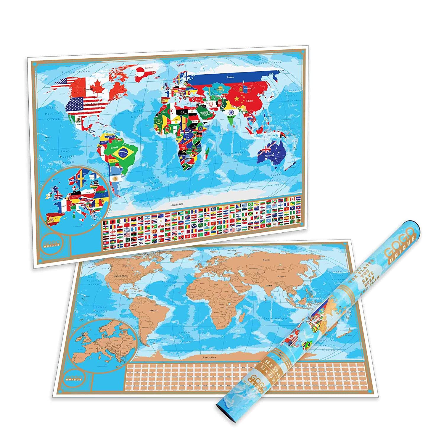 World Map United States Of America.Scratch Off Map Of The World With Flags Detailed Us States And Europe Map World Scratch Off Poster Is A Perfect Present For Travelers Premium