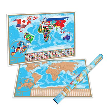 Amazon Com Scratch Off Map Of The World With Flags Detailed Us