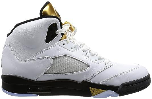 size 40 306fb 4802a Amazon.com   Nike Mens Air Jordan 5 Retro Olympic White Black-Metallic Gold  Leather Size 10.5   Basketball