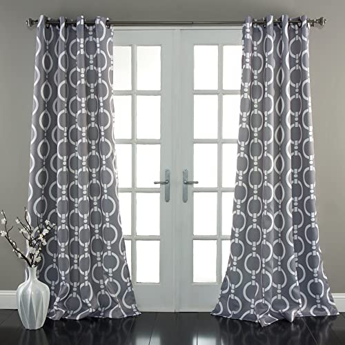 Lush Decor Chainlink Window Curtain Panel Set of 2 , 84 x 52, Gray