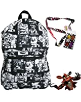 Five Nights at Freddy's Backpack with Lanyard and Keychain Charm (Black and White)