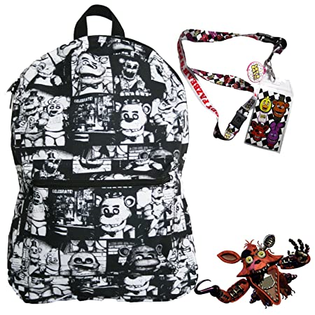 Five Nights at Freddy s Backpack with Lanyard and Keychain Charm Black and White