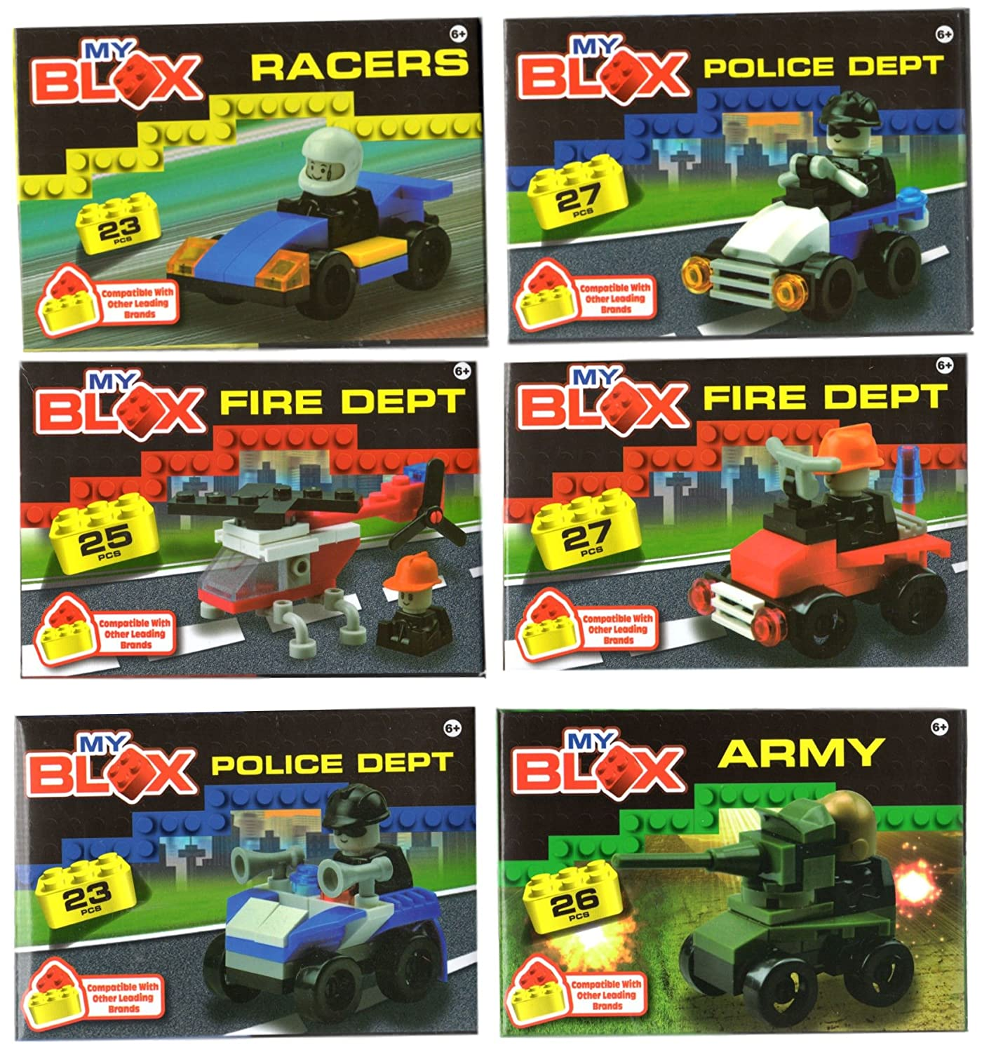 My Blox Building Blocks 6 Sets for Boys Fire Truck, Army Tank, Police Car, Race Car, and Helicopter Bundle of 6 Kits